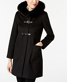 Fox-Fur-Trim Buckled Walker Coat
