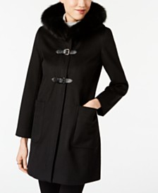 Forecaster Fox-Fur-Trim Buckled Walker Coat