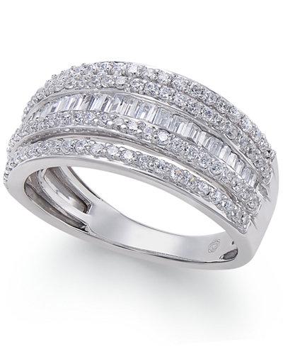 Diamond Multi-Row Ring (1 ct. t.w.) in 14k White Gold