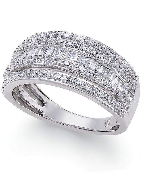 Macy's Diamond Multi-Row Ring (1 ct. t.w.) in 14k White Gold