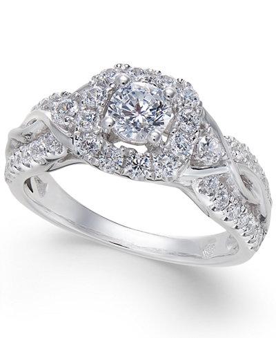 Diamond Square Halo Twist Ring (1 ct. t.w.) in 14k White Gold