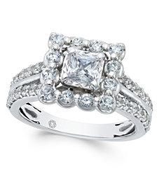Diamond Square Halo Engagement Ring (1-1/2 ct. t.w.) in 14k White Gold