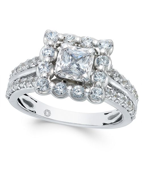 Macy's Diamond Square Halo Engagement Ring (1-1/2 ct. t.w.) in 14k White Gold