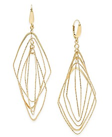 Multi-Shape Geometric Orbital Drop Earrings in 14k Gold