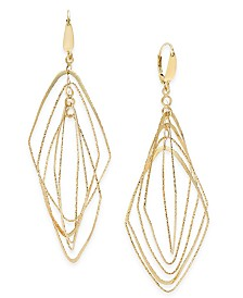 Italian Gold Multi-Shape Geometric Orbital Drop Earrings in 14k Gold