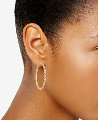 Italian Gold Rope Chain Hoop Earrings in 14k Gold Earrings