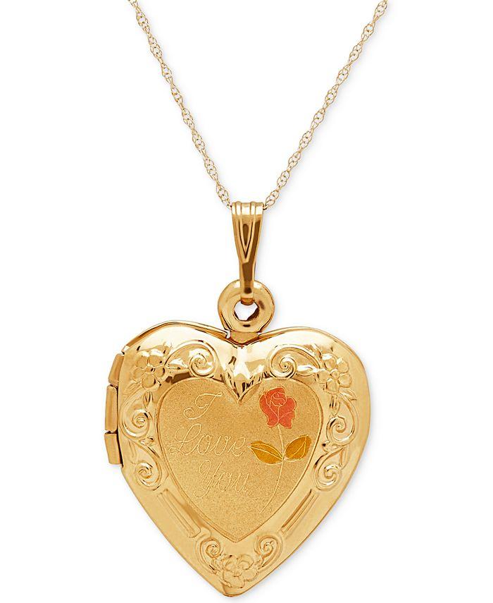 Italian Gold - Engraved Heart Locket Pendant Necklace in 10k Gold