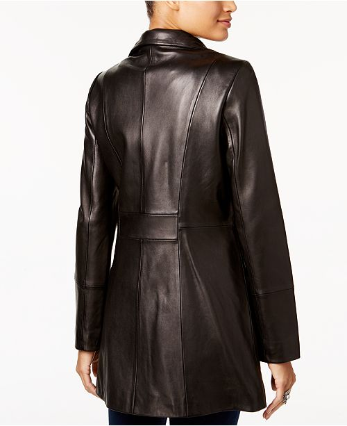 Cole Haan Asymmetrical Leather Jacket Coats Women Macy S