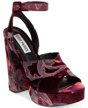 f501821cfae Steve Madden Women S Jodi Platform Sandals In Burgundy Velvet