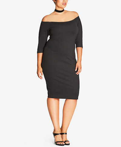 City Chic Trendy Plus Size Off-The-Shoulder Bodycon Dress