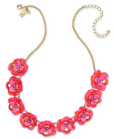kate spade new york Gold-Tone Pink Crystal Accent Flower Statement Necklace