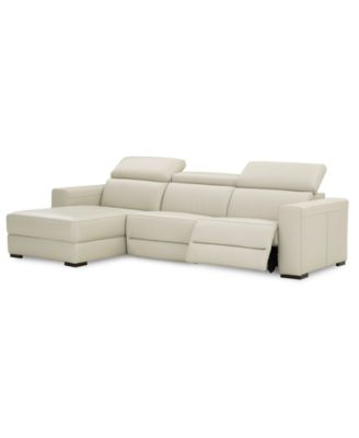 Nevio Leather Power Reclining Sectional Sofa With