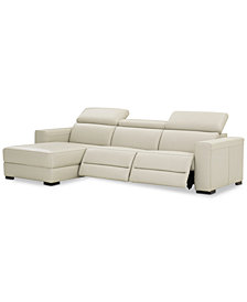 Nevio 3-pc Leather Sectional Sofa with Chaise, 2 Power Recliners and Articulating Headrests, Created for Macy's