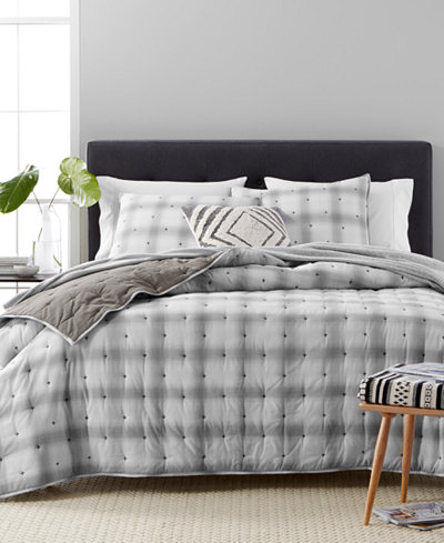 CLOSEOUT! Martha Stewart Collection Cotton Reversible Plaid Mist Full/Queen Quilt, Created for Macy's