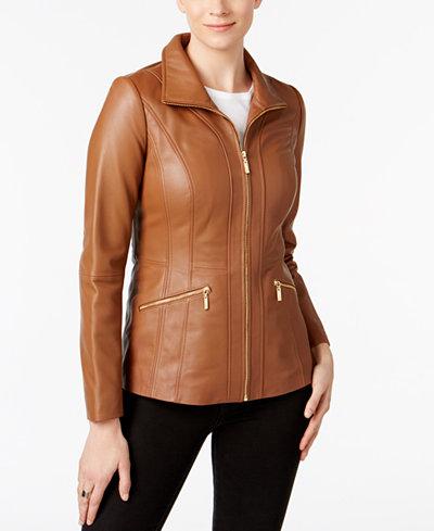 Anne Klein Scuba Leather Jacket - Coats - Women - Macy's