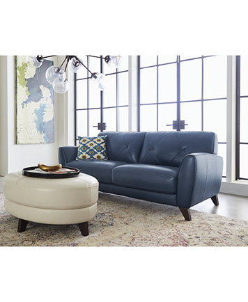 Myia 82 Leather Sofa And 62 Loveseat Set Created For Macy S Furniture