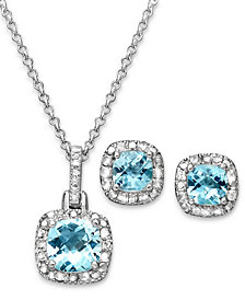 """Sapphire (3 ct. t.w.) & Diamond Accent Sterling Silver 18"""" Pendant Necklace and Stud Earrings (Also in Blue Topaz)"""