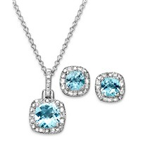 Sapphire & Diamond 18-in Pendant Necklace & Stud Earrings Deals