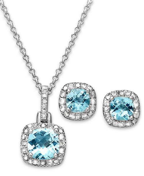 """Macy's Sapphire (3 ct. t.w.) & Diamond Accent Sterling Silver 18"""" Pendant Necklace and Stud Earrings (Also in Blue Topaz & Amethyst)"""