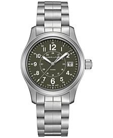 Men's Swiss Khaki Field Stainless Steel Bracelet Watch 38mm