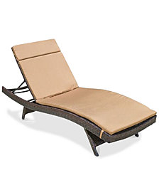 Outdoor Wicker Adjustable Chaise Lounge with Cushion, Quick Ship