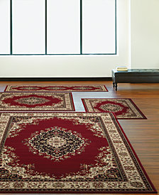 KM Home Florence Kerman Red 4-Pc. Rug Set