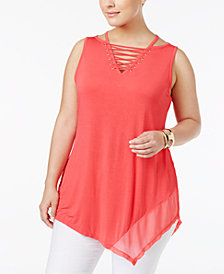 Belldini Plus Size Lace-Up Asymmetrical-Hem Tunic