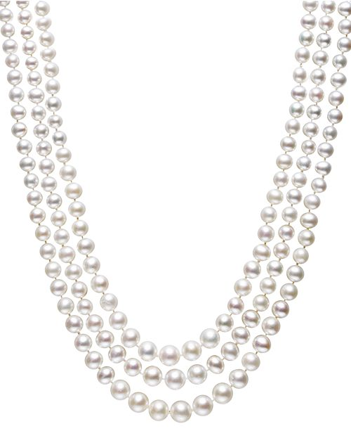 Belle de Mer Cultured Freshwater Pearl Three-Strand Necklace in Sterling Silver (4-8mm)