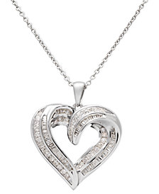 Diamond Heart Pendant Necklace in Sterling Silver (1/2 ct. t.w.)