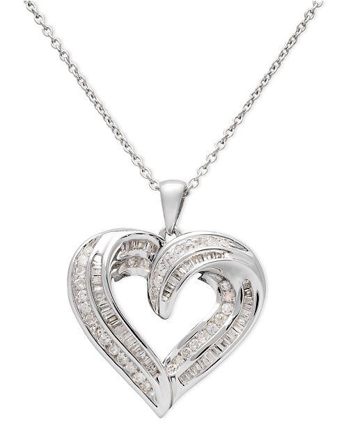 ef96016d95b Macy s Diamond Heart Pendant Necklace in Sterling Silver (1 2 ct. t.w.)