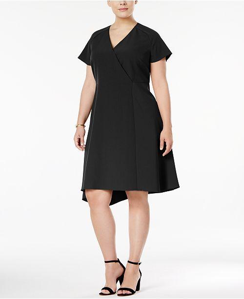 Anne Klein Plus Size Asymmetrical-Hem Fit & Flare Dress
