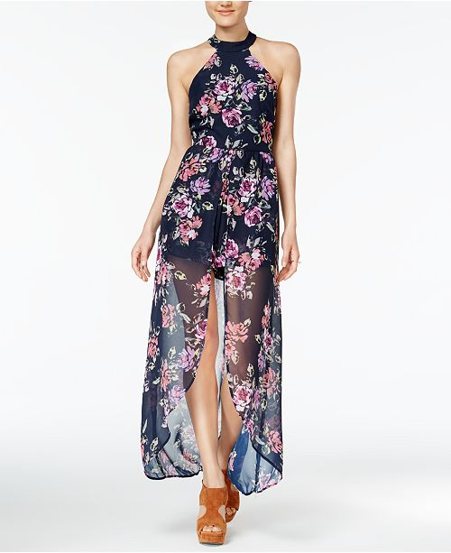42162dabd5c7 Crystal Doll Juniors  Floral-Print Romper Dress   Reviews - Dresses ...