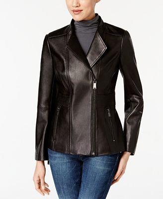 Anne Klein Asymmetrical Leather Jacket