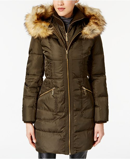 9bb054b55f2 Vince Camuto Faux-Fur-Trim Hooded Puffer Coat   Reviews - Coats ...