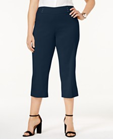 JM Collection Plus & Petite Plus Size Tummy Control Pull-On Capri Pants, Created for Macy's