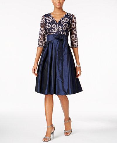 Jessica Howard Lace Taffeta Fit Amp Flare Dress Dresses
