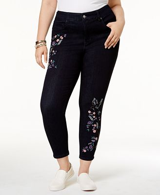 Melissa McCarthy Seven7 Trendy Plus Size Embroidered Skinny Jeans ...