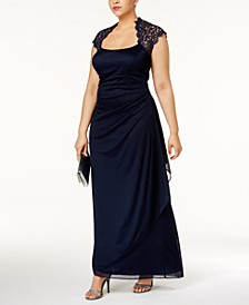 Plus Size Ruched Lace Gown