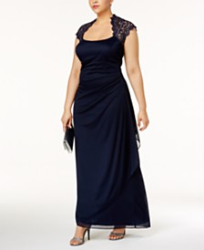 XSCAPE Plus Size Ruched Lace Gown