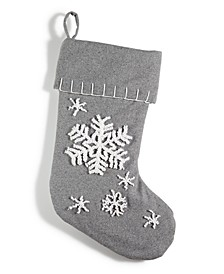 Gray Stocking with Snowflakes , Created for Macy's