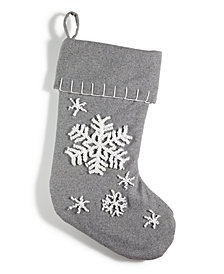 Holiday Lane Gray Felt Snowflake Stocking, Created for Macy's
