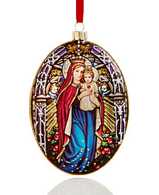 Holiday Lane Glass Holy Mother & Child Oval Ornament, Created for Macy's