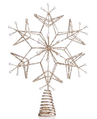 Holiday Lane Golden Snowflake Tree Topper, Created for Macy's