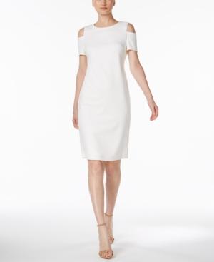 ed672e9eebb0 Calvin Klein Petite Cold-Shoulder Sheath Dress In Cream