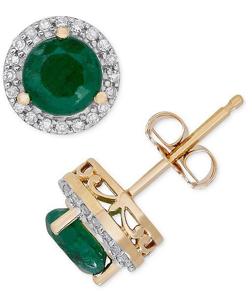Macy's Birthstone & Diamond (1/8 ct. t.w.) Halo Stud Earrings in 14k Gold