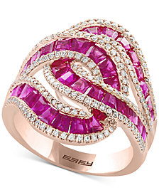 EFFY® Amoré Certified Ruby (3-1/2 ct. t.w.) & Diamond (1/2 ct. t.w.) Ring in 14k Rose Gold (Also Available in Sapphire)