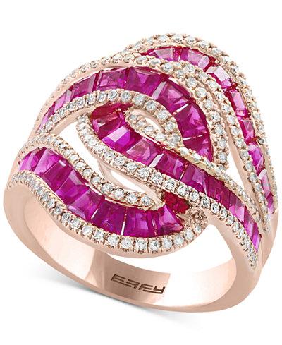 Effy 174 Amor 233 Certified Ruby 3 1 2 Ct T W Amp Diamond 1 2