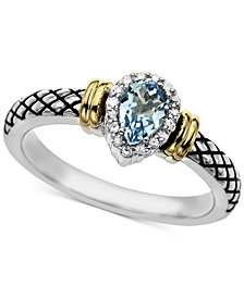 Swiss Blue Topaz (1/2 ct. t.w.) & Diamond Accent Ring in Sterling Silver