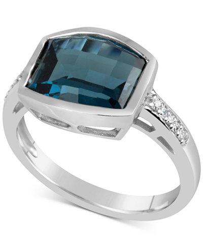 Blue Topaz (4-1/2 ct. t.w.) & Diamond Accent Ring in 14k White Gold
