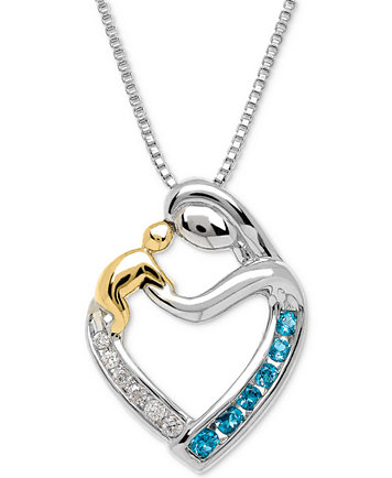 Blue topaz 15 ct tw diamond accent mother child pendant image 1 of blue topaz 15 ct tw diamond accent aloadofball Image collections